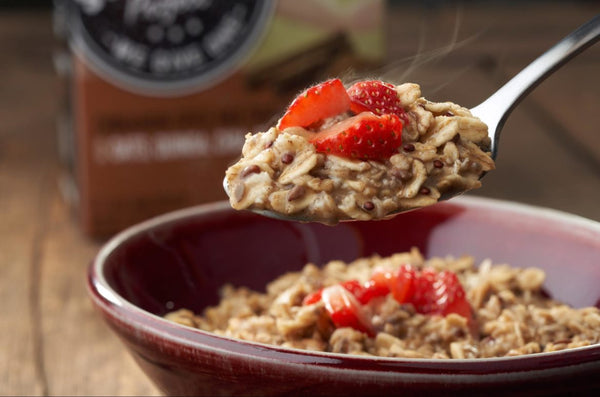 Hot Grain cereal with strawberries