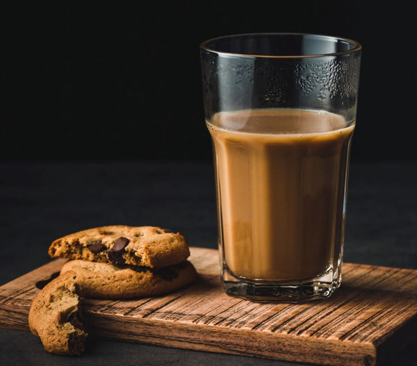 Peanut Butter Granola Cookies with a glass of chocolate milk