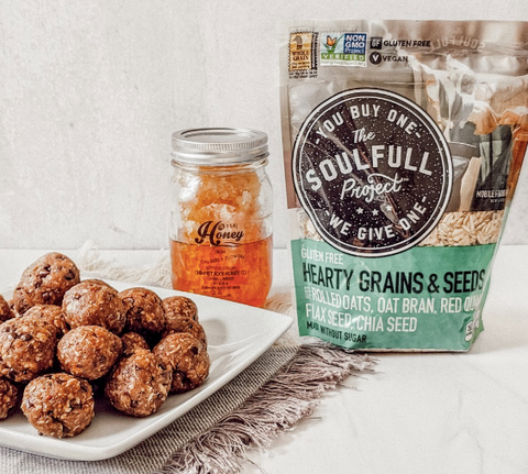 Oatmeal balls with The Soufull Project Grains are healthy snacks for adults