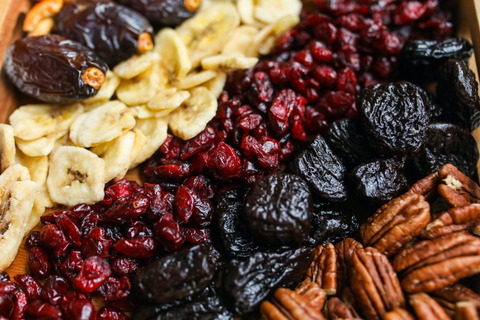 Dried fruit and nuts for healthy snacks for adults