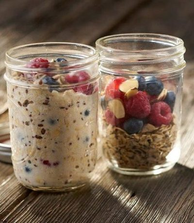 mason jars filled with hot cereal ingredients