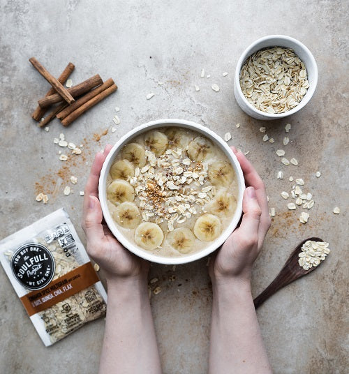 Flat lay view of  oatmeal with bananas