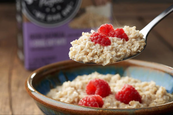 spoonful of gluten free oatmeal and berries