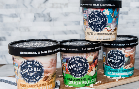Single serving containers of The Soulfull Project oatmeal