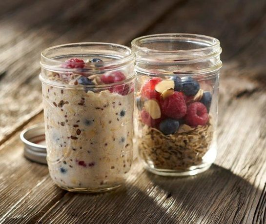 jars of overnight oats for office snacks