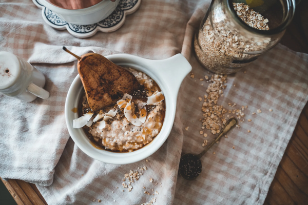 savory oatmeal with pear