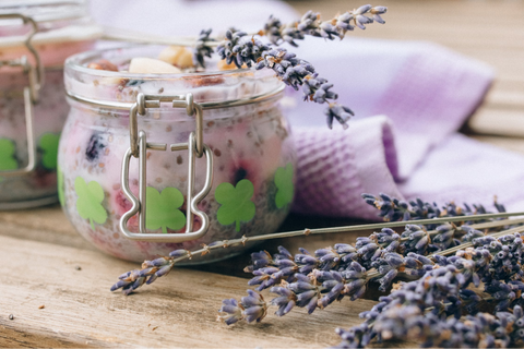 Vanilla Chia Pudding in a jar with coconut milk and honey