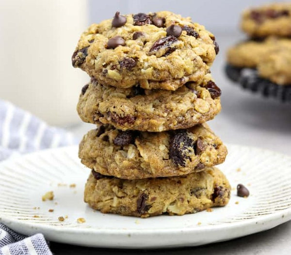 A Stack of Vegan Oatmeal Raisin Cookies With Chocolate Chips