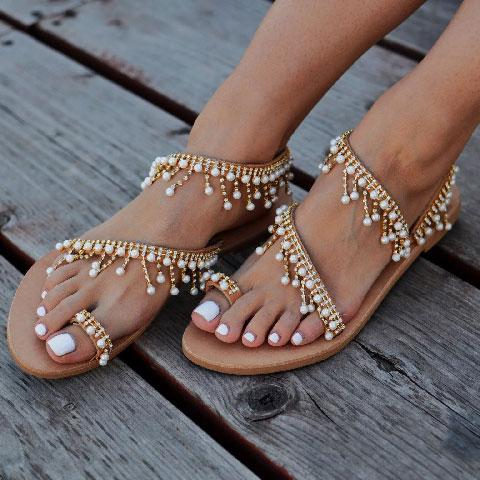 Summer Pearl Leather Chic Sandals