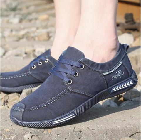 Canvas Lace-Up Casual Breathable Male Footwear