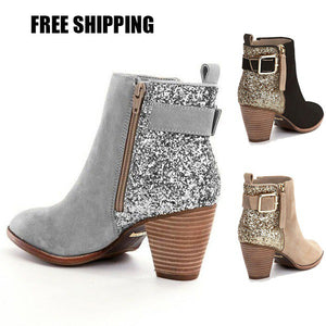Fashion Sexy Ankle Boots Chunky Heel Round Bootie