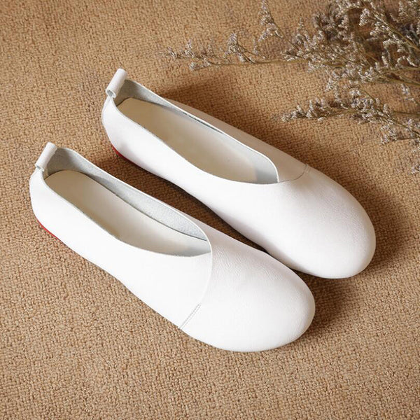 New Fashion Handmade Vintage Genuine Leather Women Flats