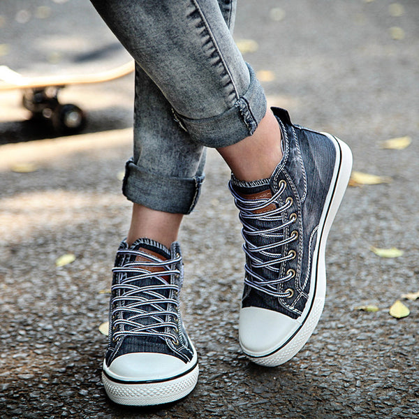 2018 New Fashion Women High Top Ankle Canvas Sneakers