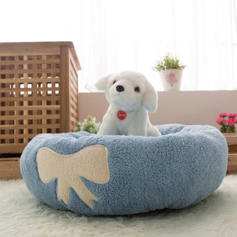 Blue/Pink Dog Beds Coral Fleece Kitten Cat House Puppies Dog Bed for Small