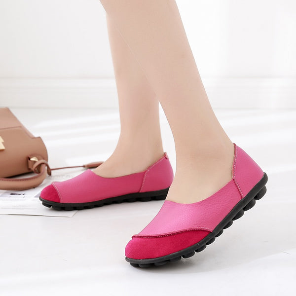 Soft Women Slip On Genuine Leather Ballet Shoes