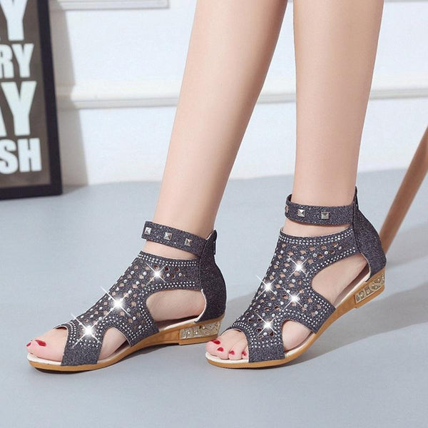 Woman Crystal Bling Wedges Summer Shoes