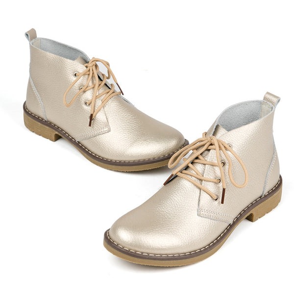 Genuine Leather Fashion Lace Up Classic Casual Boots