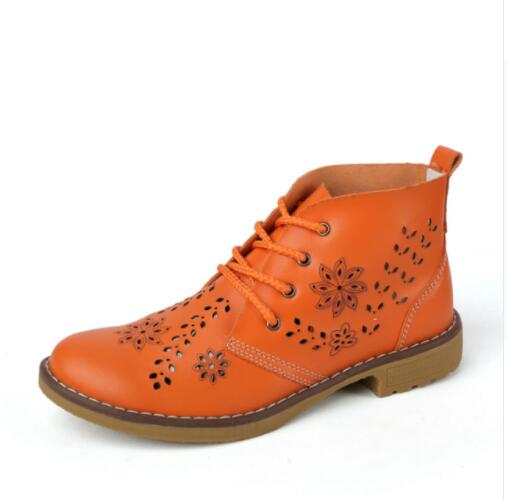 Fashion Women Hollow Lace Up Genuine Leather Classic High Top Boots