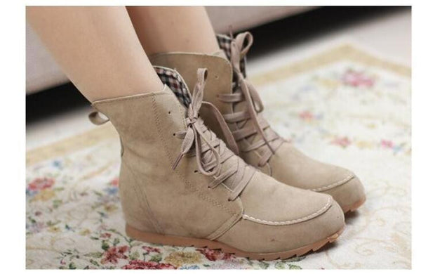 Ladies Lace Up Round Toe Comfortable Martin Boots
