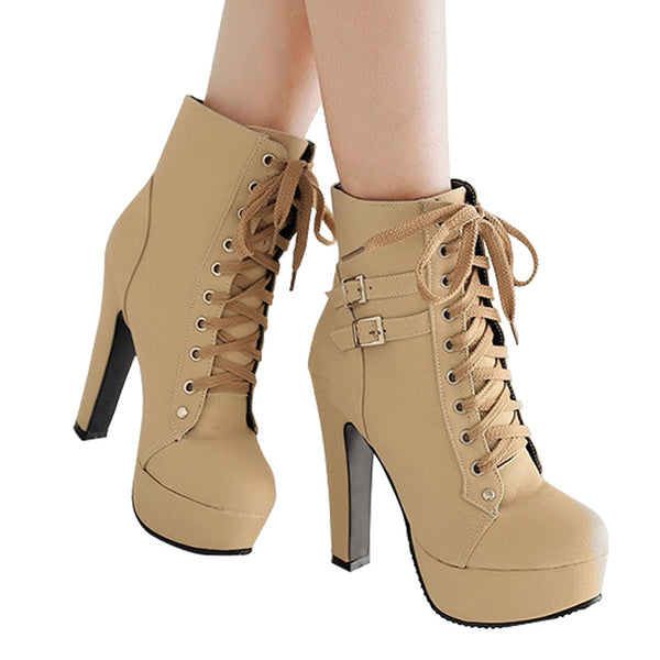 Platform High Heels Female Lace Up Buckle Short Boots