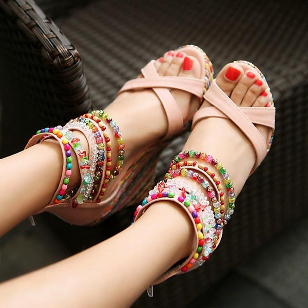 2018 Summer Women Beads Ankle Strap Platform Sandals