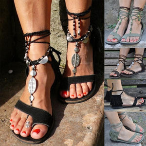 Woman Fashion Tassel Straps Flat Beach Sandals