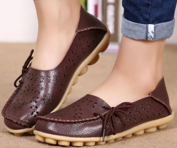 2018 New Ladies Genuine Bowknot Leather Slip on Flats