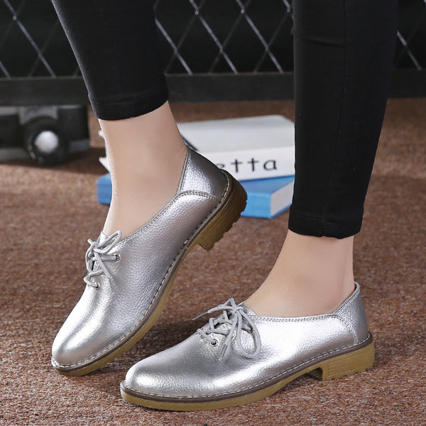 Genuine Leather Women  Lace Up Casual Shoes