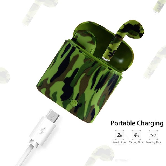 Art Painted Camo Tws Wireless Bluetooth Earphone With Charging Box