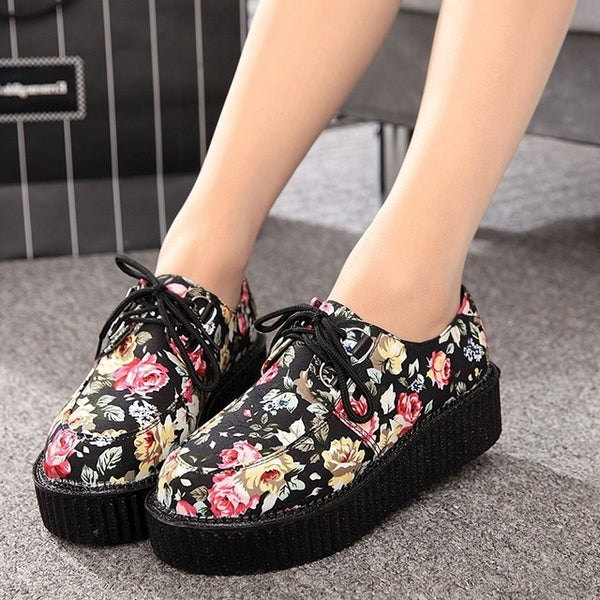 Women Casual  Lace-Up Round Toe Creepers