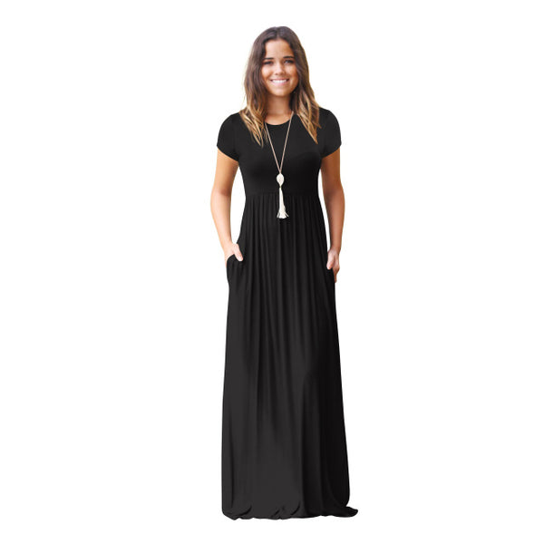 New Casual O Neck Short Sleeve Loose Maxi Dresses with Pockets
