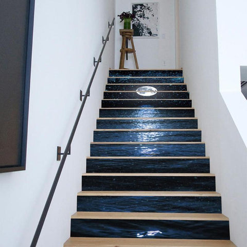 13Pcs DIY 3D Stair Wall Stickers Night Lake Landscape