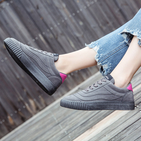 Fashion Star Vulcanized Lace Up Female Casual Canvas Flats
