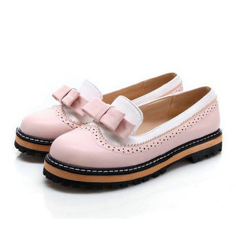 Cute Bowtie Slip On Brogue Platform Shoes