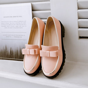 Bow Tie Vintage Low Square Heel Round Toe Platform Shoes
