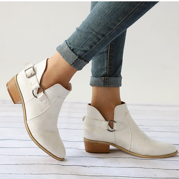 Female Buckle Clog Heels Casual Slip On Short Boots