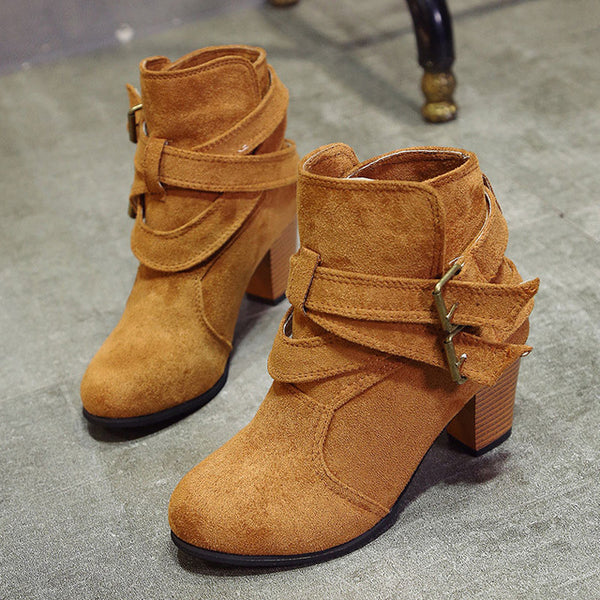 Women Fashion Suede Buckle Thick Heel Ankle Boots