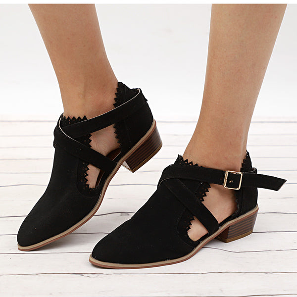Buckle Strap Hollow Out Chunky Heel Ankle Boots