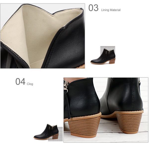 Women Double Zipper Thick High Heels Ankle Boots