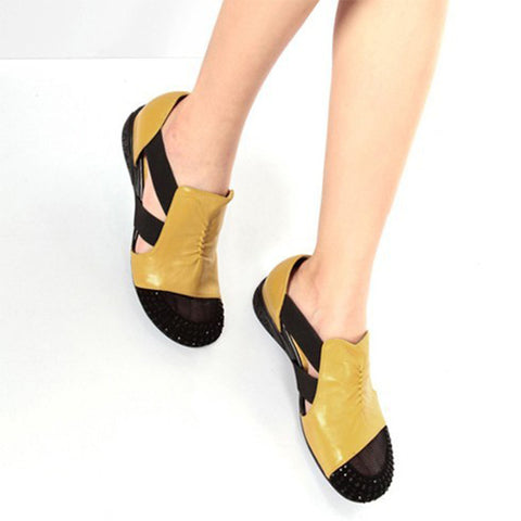Women Elastic Band Crystal Cuts Out Flat Sandals
