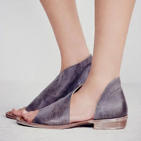 Female Peep Toe Shallow Slip On Split Leather Flats