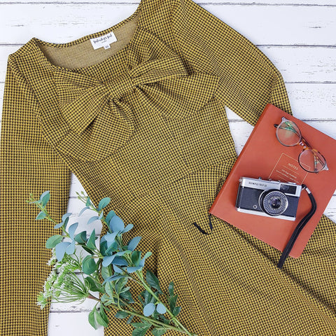 vintage style vintage inspired retro long sleeve winter dress dogtooth houndstooth