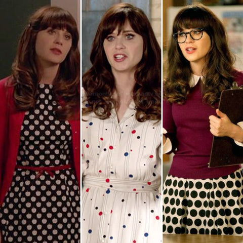 zooey deschanel polka dot dresses vintage inspired retro style new girl 500 days of summer