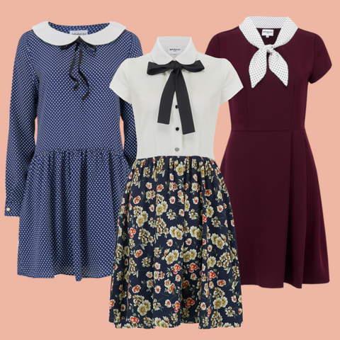 vintage style collar dresses inspired by the 1920s, 1930s and 1940s