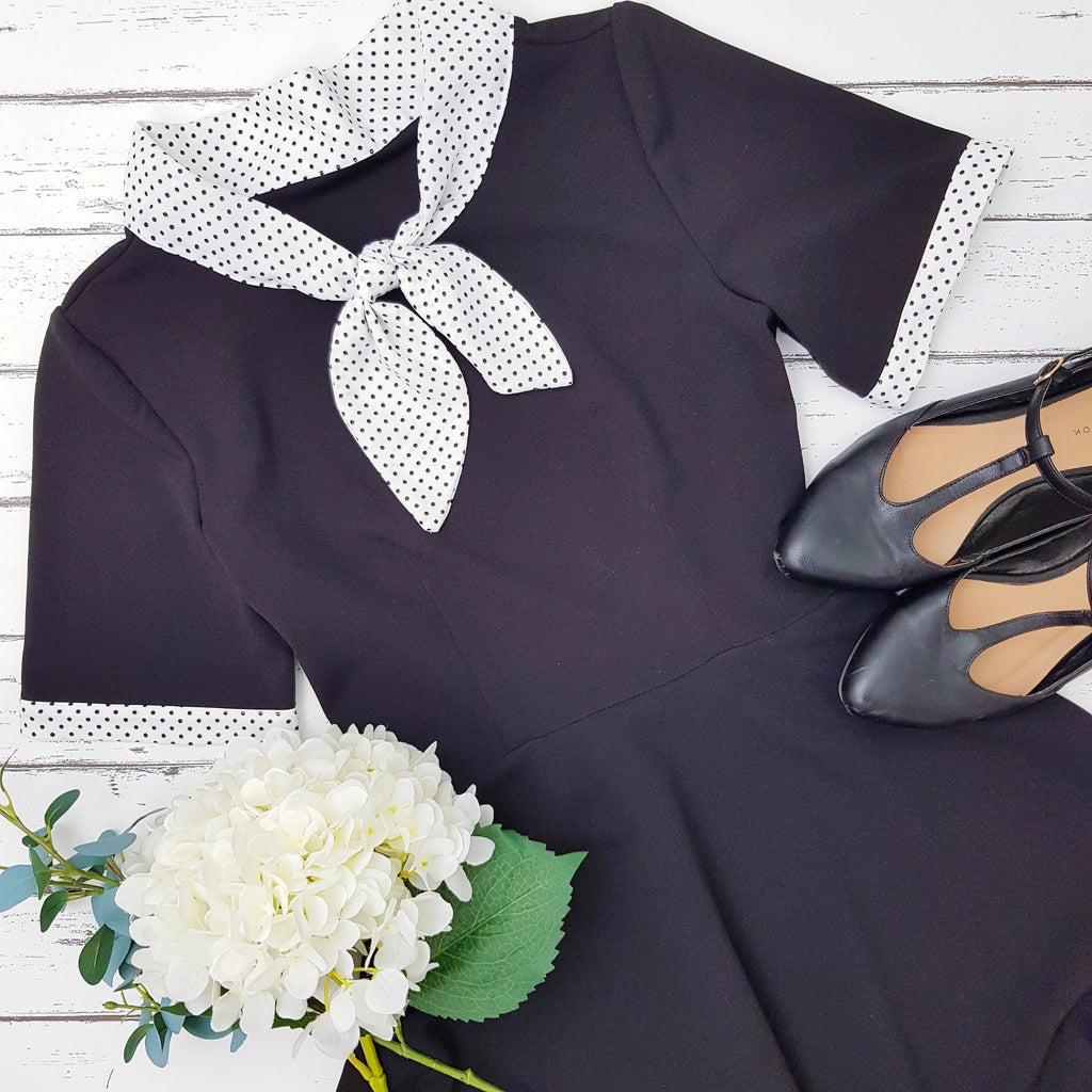 Polka Dot Peggy Dress in Black