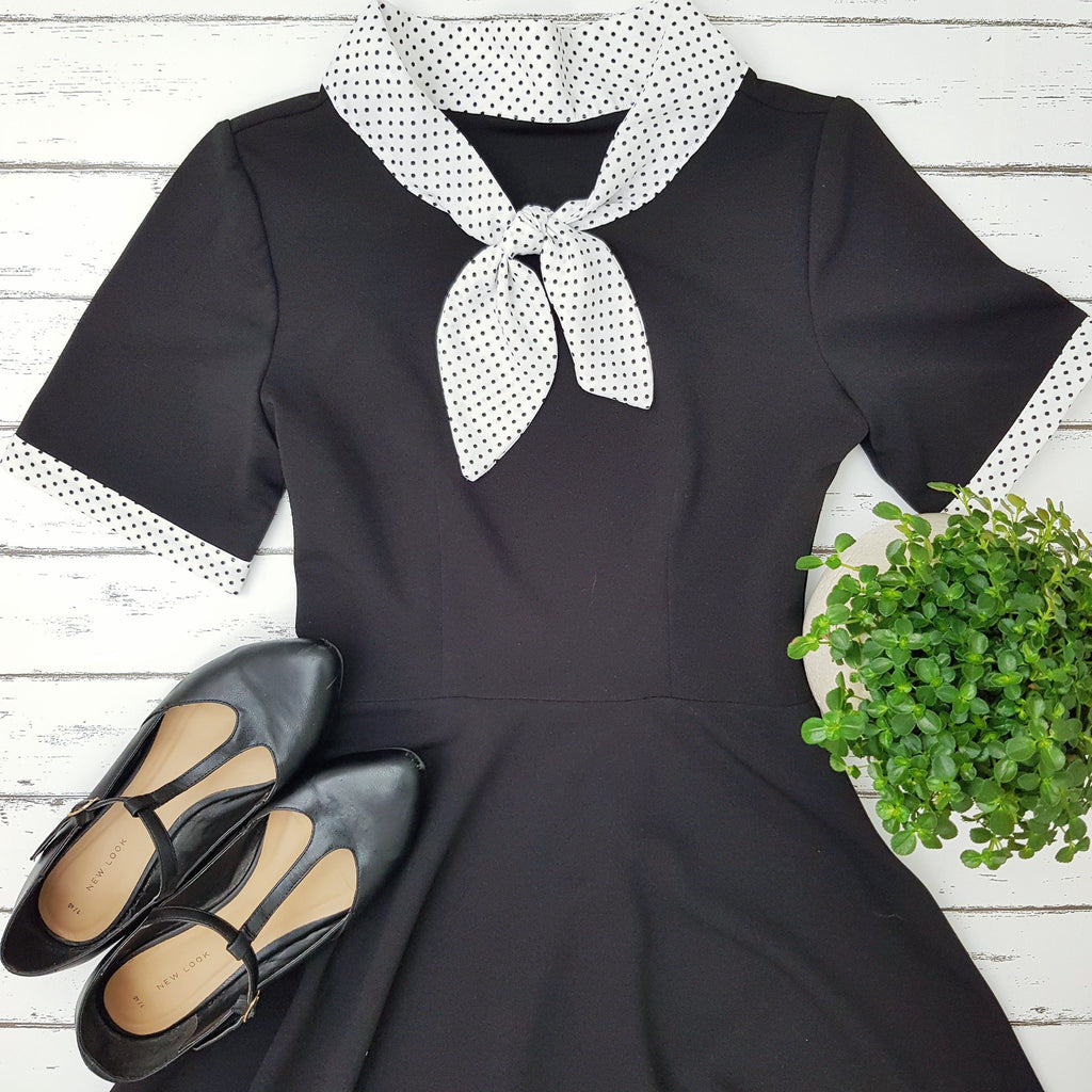 1940s vintage inspired retro polka dot collar peggy tea dress full a line skirt mad men zooey deschanel dress black and white dress flat lay how to create vintage look outfit