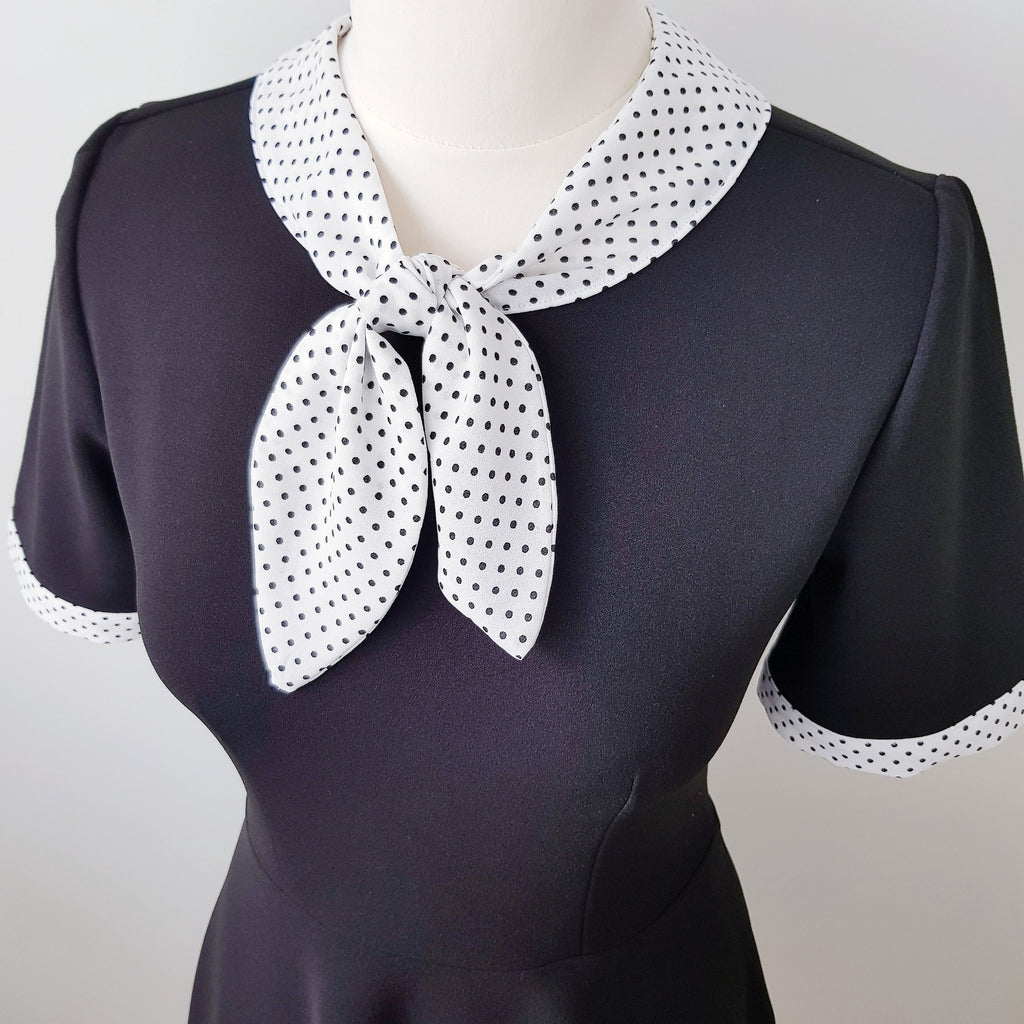 1940s vintage inspired retro polka dot collar peggy tea dress full a line skirt mad men zooey deschanel dress black and white dress