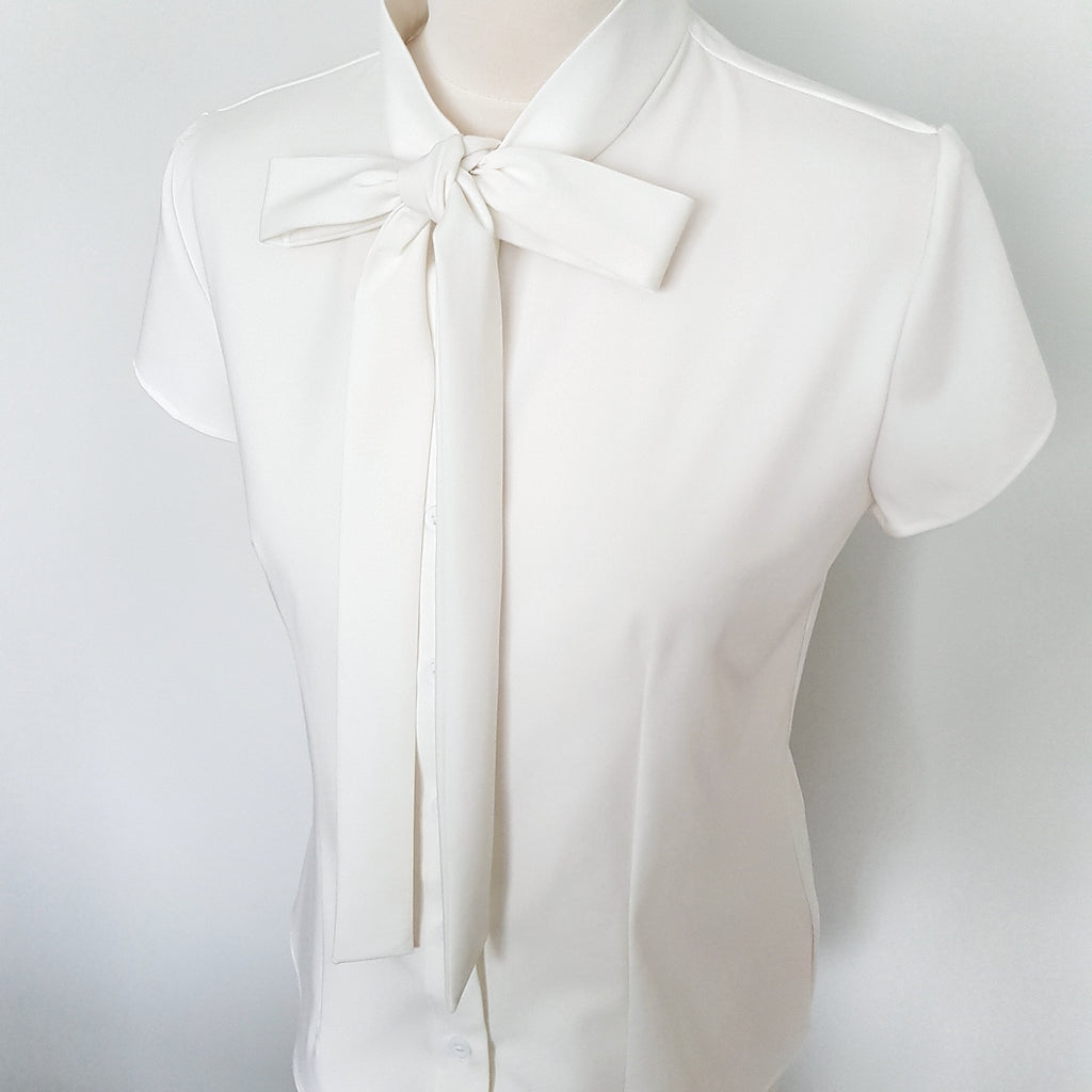 bow shirt vintage style 1950s inspired pussy bow blouse rockabilly pin up retro shirt button down women's blouse cream