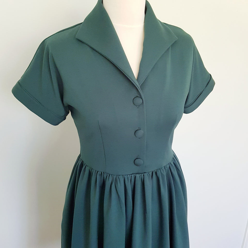 vintage shirt dress autumn winter vintage dress green tea dress ww2 cute retro dresses 1940s 1950s