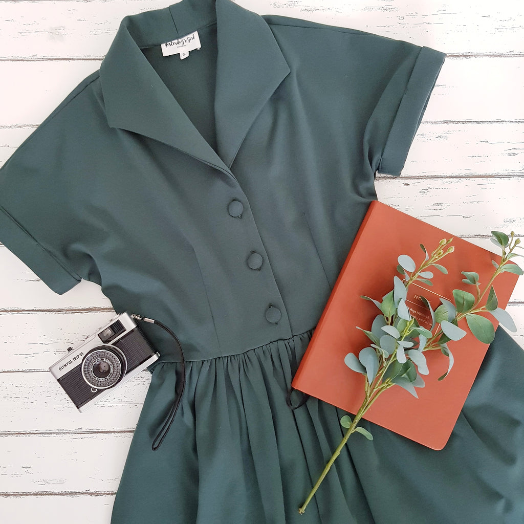 1940s vintage style shirt dress tea dress dark green autumn winter dress gathered full skirt fit and flare dress pin up clothing